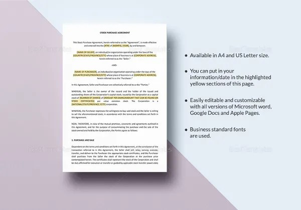 16+ Purchase Agreement Templates \u2013 Free Sample, Example, Format