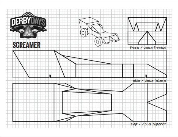 printable car template – Pinewood Derby Template