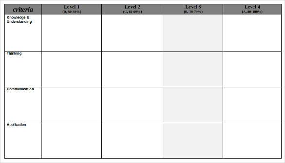 Blank Rubric Template \u2013 6+ Free Printable PDF, Word, Excel Format