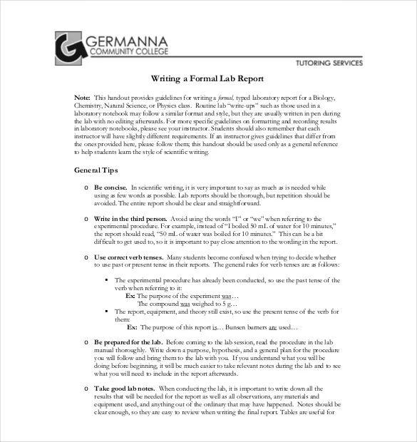 chemistry lab report example
