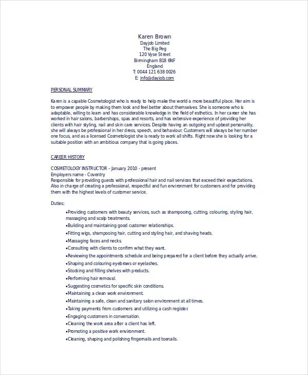 resume templates for cosmetology students