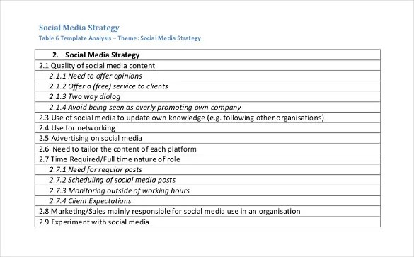 Social Media Strategy Template - 8 Free PDF Documents Download - social media plan template