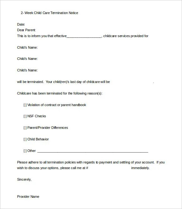 Daycare Termination Letter Templates - 12+ Free Sample, Example - sample letter to withdraw child from daycare