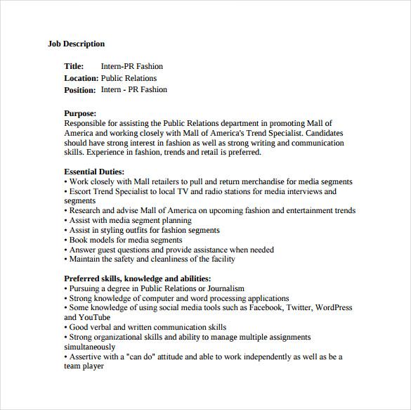 9+ Public Relation Job Description Templates - Free Sample, Example - public relations job description