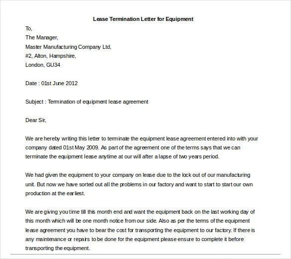 Lease Termination Letter Templates - 18+ Free Sample, Example - sample lease termination letter