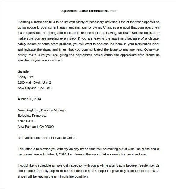 22+ Lease Termination Letter Templates - PDF, DOC Free  Premium - Apartment Lease Templates
