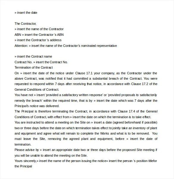 contractor termination letters - Ozilalmanoof - contract termination letter sample
