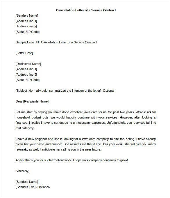 22+ Contract Termination Letter Templates - PDF, DOC Free