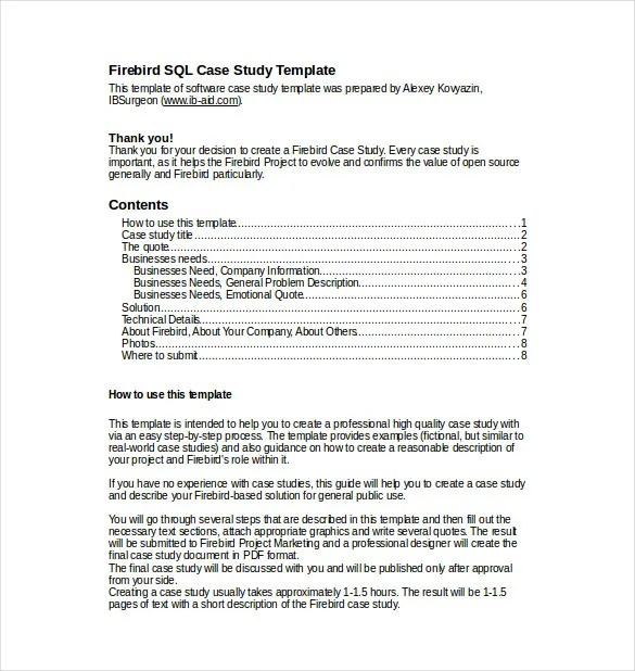 Case Study Template \u2013 9+ Free Word, PDF Documents Download! Free