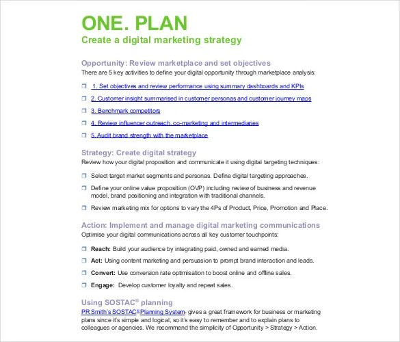digital marketing plan pdf - Onwebioinnovate - digital marketing plan template