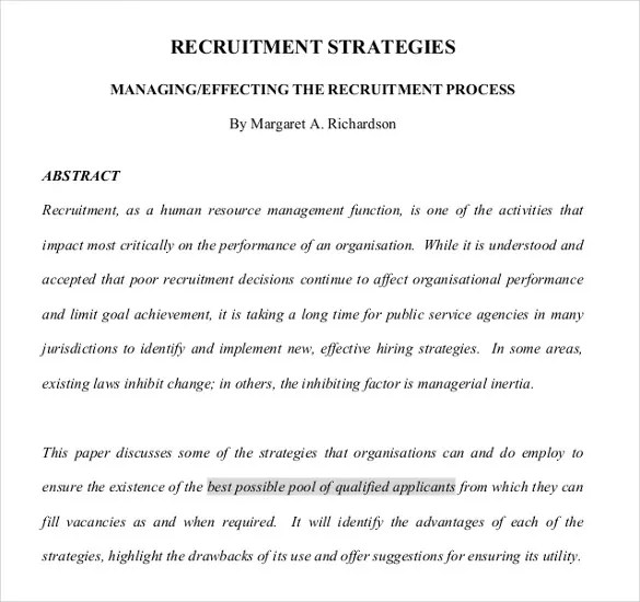 Recruitment Strategy Template \u2013 13+ Free Word, PDF, Documents