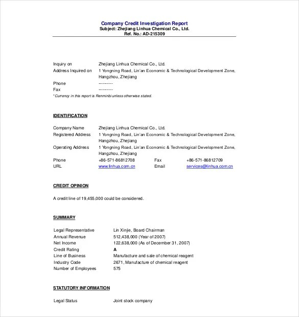 Credit Investigation Form Sample | Cover Letter Sample For Job