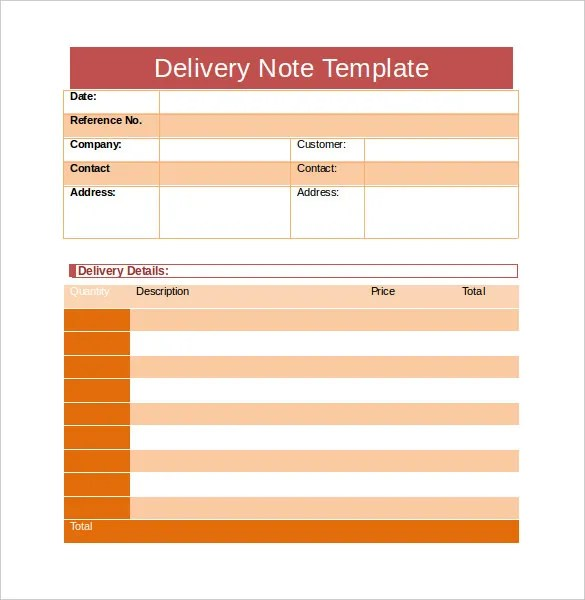 Delivery Note Template Delivery Note Template Strong Impression - sample delivery note template