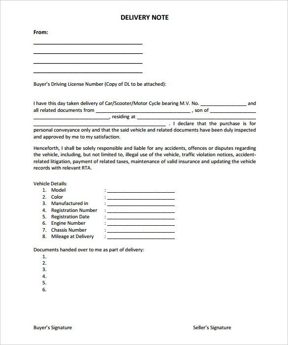 25+ Delivery Note Templates - PDF, DOC Free  Premium Templates
