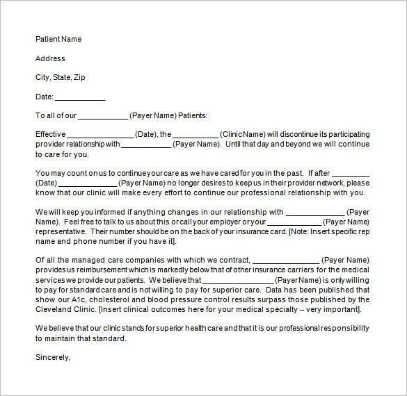 9+ Patient Termination Letter Templates u2013 Free Sample, Example - sample termination letters