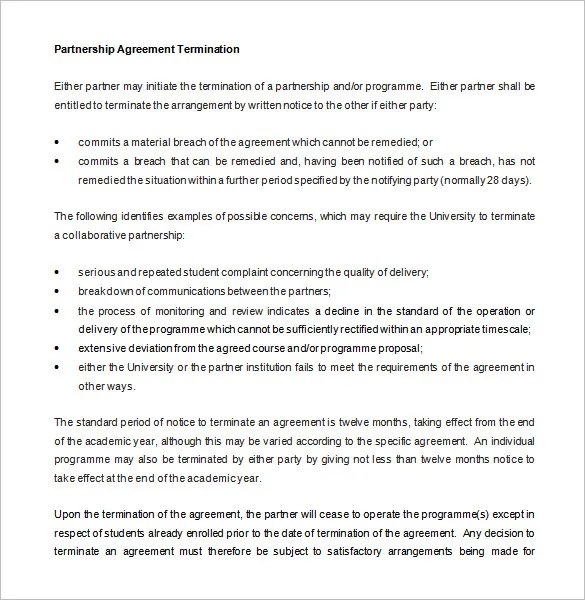 9+ Partnership Termination Letter Templates \u2013 Free Sample, Example - Partnership Agreement Format