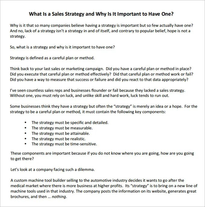 14+ Sales Strategy Templates u2013 Free Sample, Example, Format - sales plan example