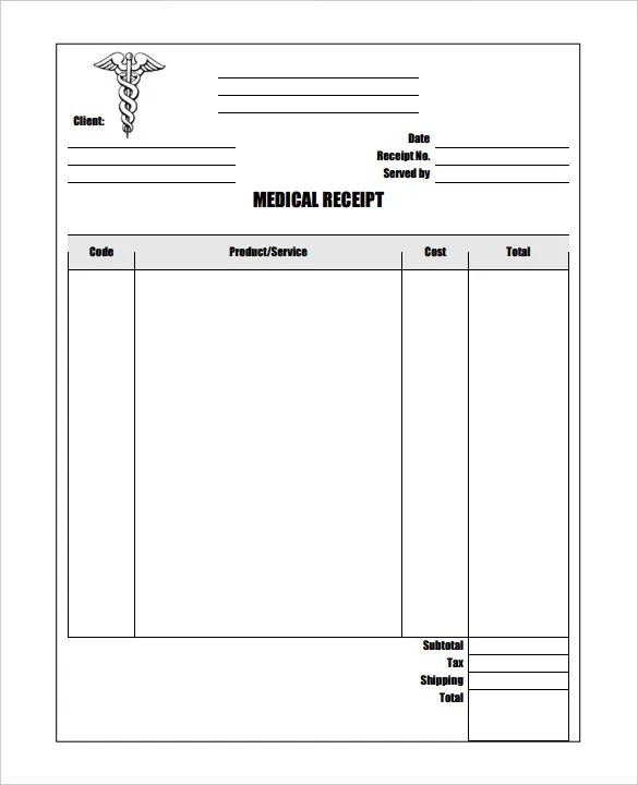 21+ Medical Receipt Templates - PDF, DOC Free  Premium Templates - printable blank receipts