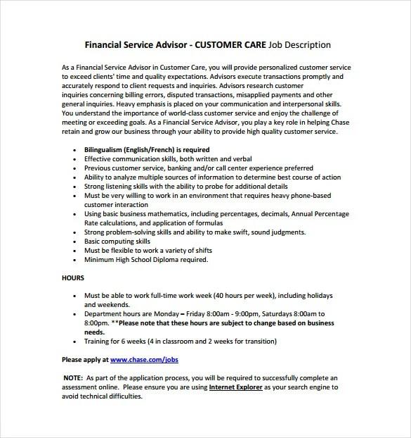 7+ Financial Advisor Job Description Templates \u2013 Free Sample