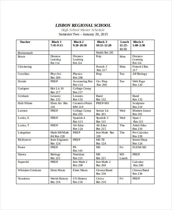 sample school schedule template - Onwebioinnovate - class schedule template sample