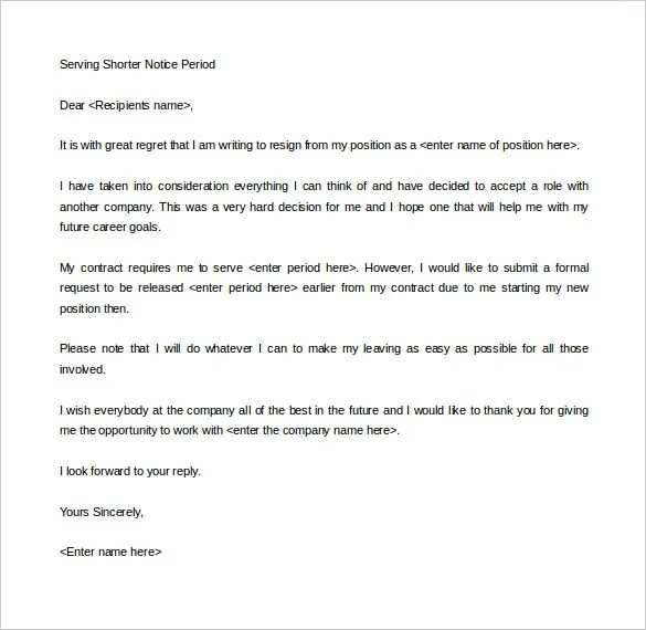 18+ Notice Period Letter Templates - Free Sample, Example Format - resignation letter short notice