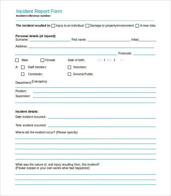 incident report form template free - Selol-ink - Accident Report Template