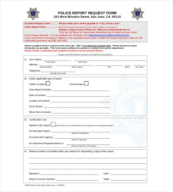 Sample Police Report Template - 6 Free Word, PDF Documents - police report template