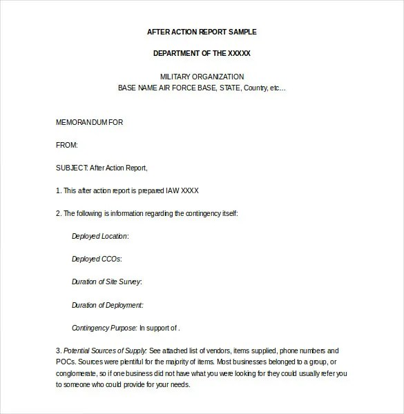 police report format template – After Action Report Sample