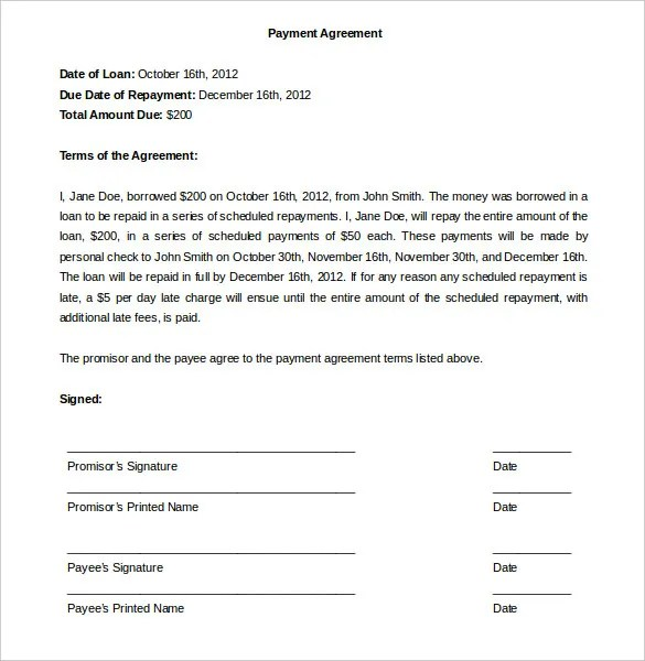 Payment Plan Agreement Template - 12+ Free Word, PDF Documents