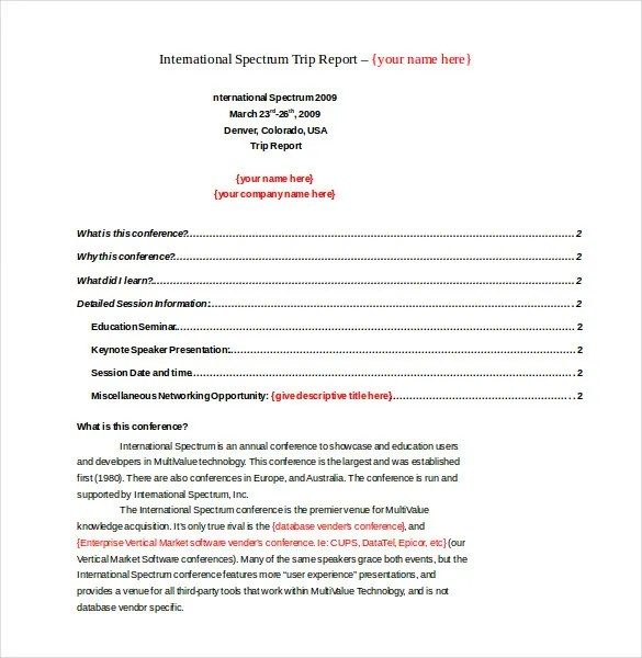 14+ Trip Report Templates - Free Sample, Example, Format Download