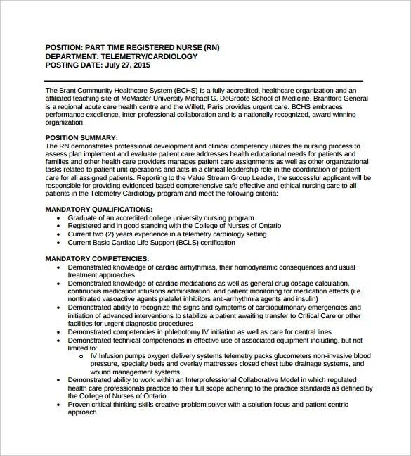 10+ Registered Nurse Job Description Templates - Free Sample