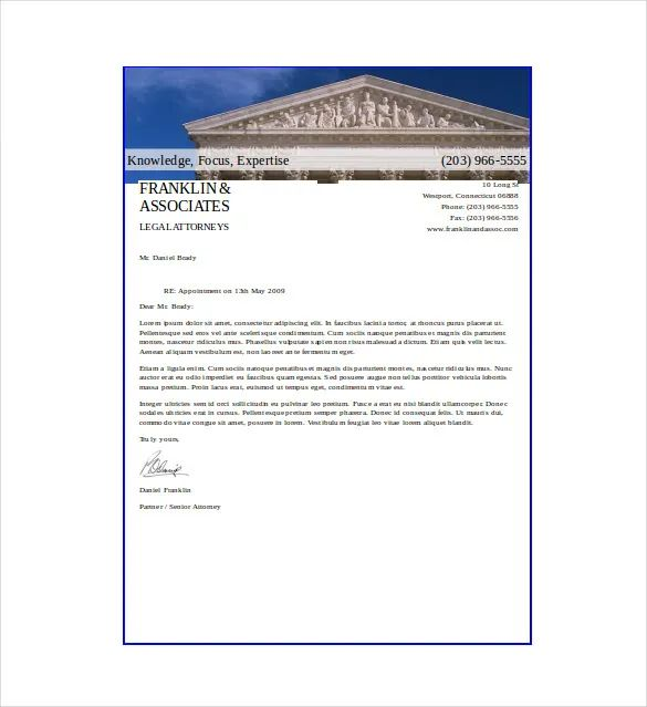sample attorney letterhead