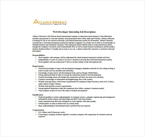 11+ Web Developer Job Description Templates \u2013 Free Sample, Example