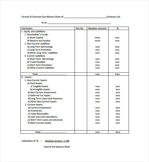 Balance Sheet Templates - 12+ Free Sample, Example, Format Download - balance sheet formats