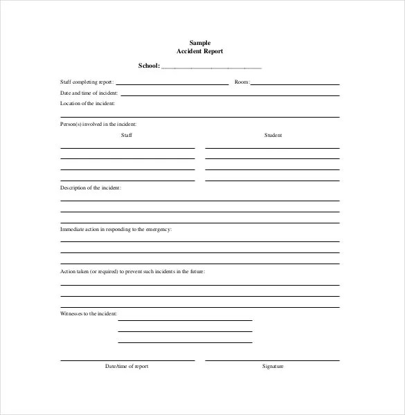 16+ Accident Report Template - Free Sample, Example, Format Download - accident reports template