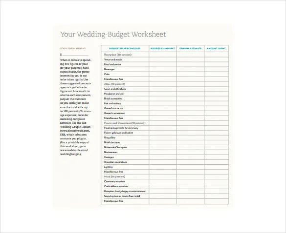 11+ Budget Sheet Templates \u2013 Free Sample, Example, Format Download - simple budget sheets