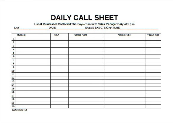 Call Sheet Template - 23+ Free Word, PDF Documents Download! Free