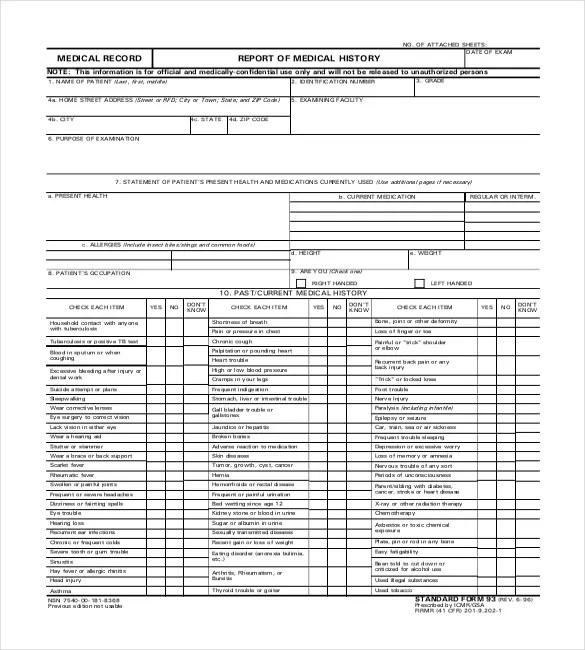 8+ Medical Report Templates - Free Sample, Example, Format Download - complete health history example