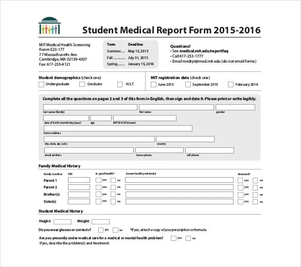 8+ Medical Report Templates - Free Sample, Example, Format Download - Sample Medical History Form