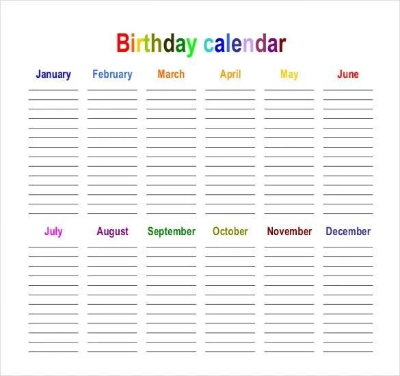 43+ Birthday Calendar Templates - PSD, PDF, Excel Free  Premium