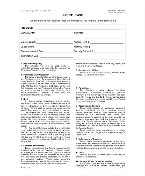 House Lease Template - 6+ Free Word, PDF Documents Download Free