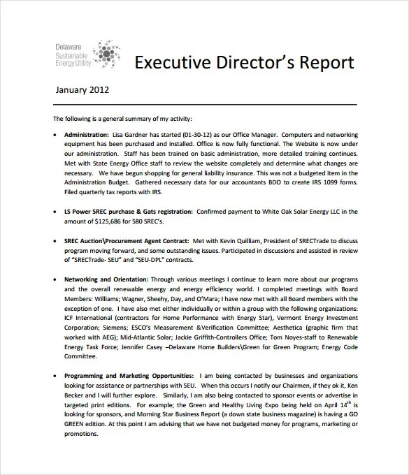 Executive Report Template - 14+ Free Sample, Example, Format