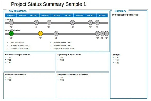 17+ Status Report Templates - Free Sample, Example, Format Download - Project Summary Report Sample