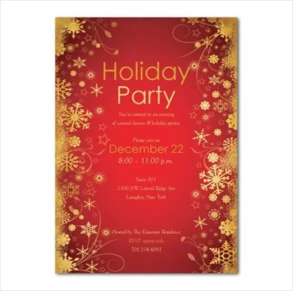Holiday Invitation Template u2013 17+ PSD, Vector EPS, AI, PDF Format - free download invitation templates