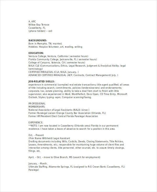 Paralegal Resume Template - 7+Free Word, PDF Documents Download - paralegal resume