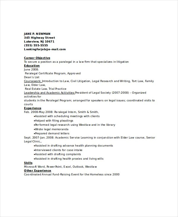 Paralegal Resume Template - 7+Free Word, PDF Documents Download - sample paralegal resume