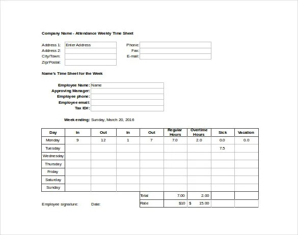 15+ Attendance Sheet Templates \u2013 Free Sample, Example, Format