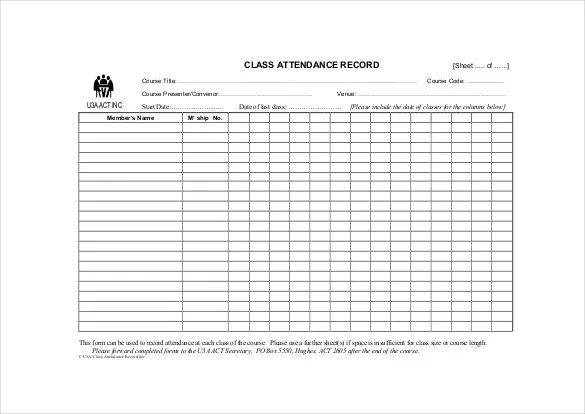 14+ Attendance Sheet Templates - PDF, DOC, Excel Free  Premium - sample attendance sheet template