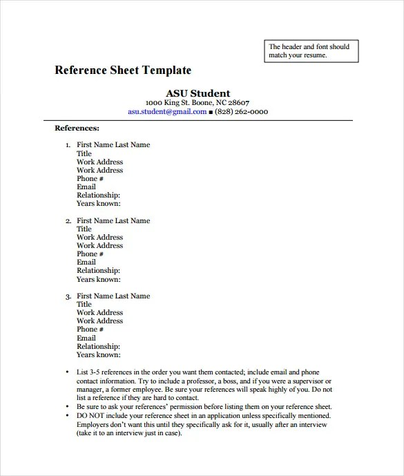 Resume reference page how to – Template for Reference Page