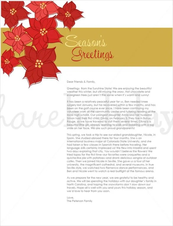 Holiday Letter Template \u2013 16+ Free Word, PDF, PSD, Format Download